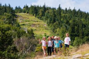 Kids hiking at Sunday River