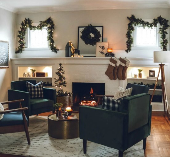 Cozy chairs around a fireplace