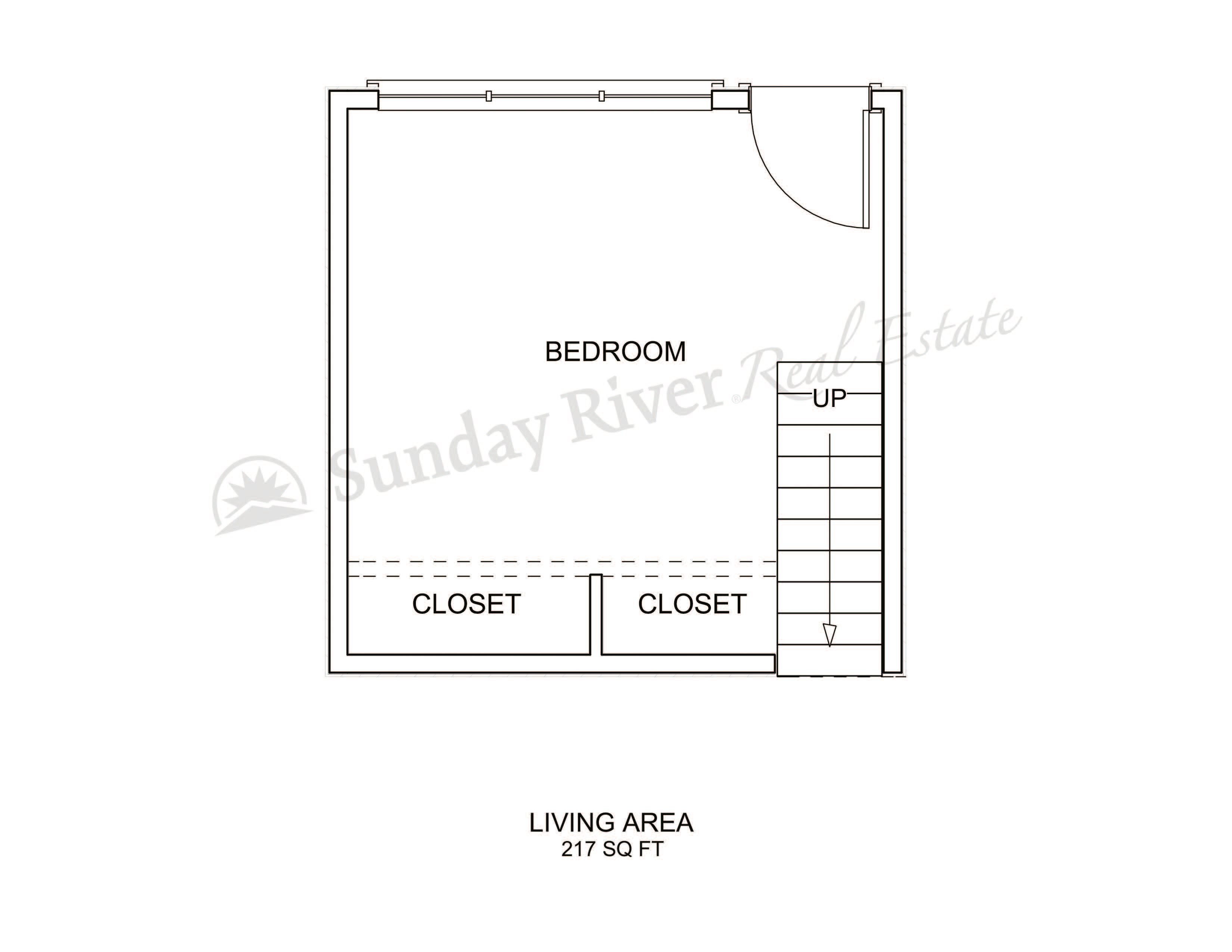 1-Bedroom Floor Plan with Lower Level - Bed