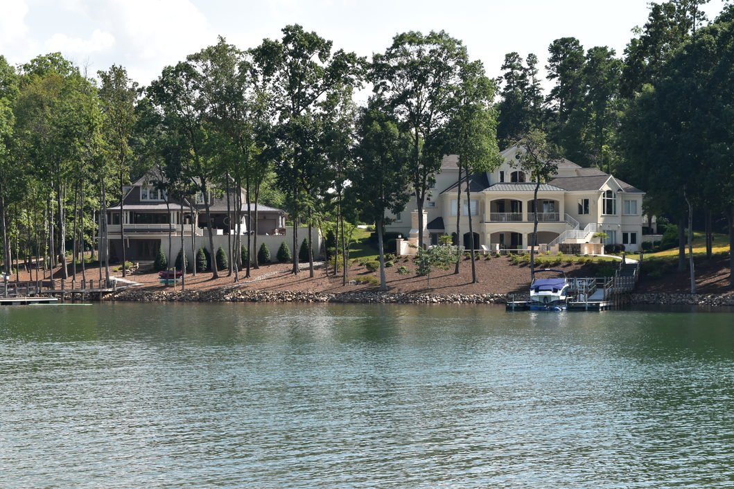 View of waterfront homes on Lake Norman in Mooresville
