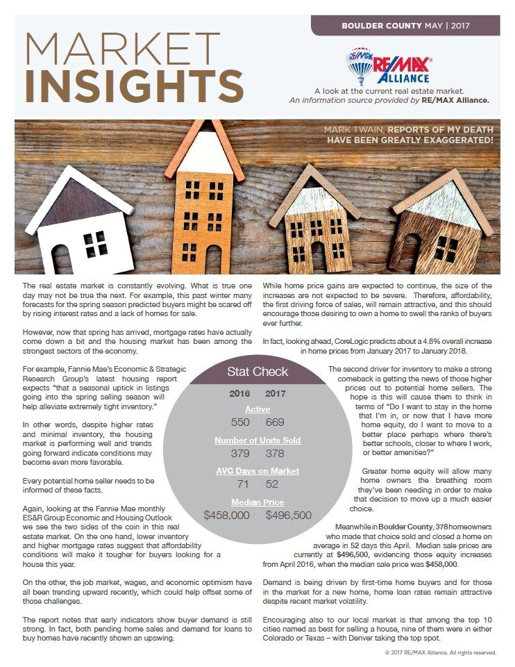 Boulder County Market Insights May 2017 Mike Gold