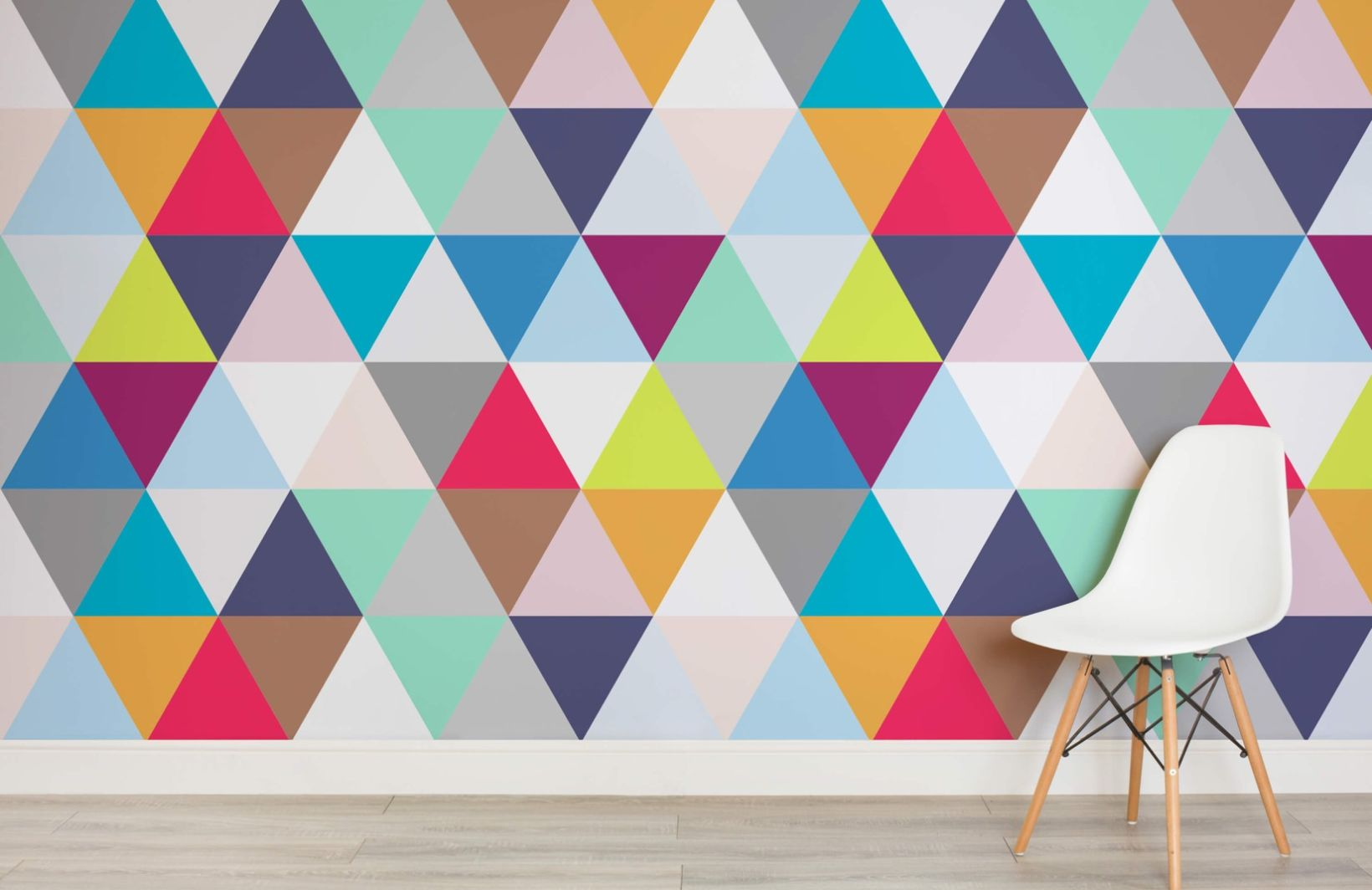 Multicoloured Triangles Geometric Wallpaper Murals Wallpaper The
