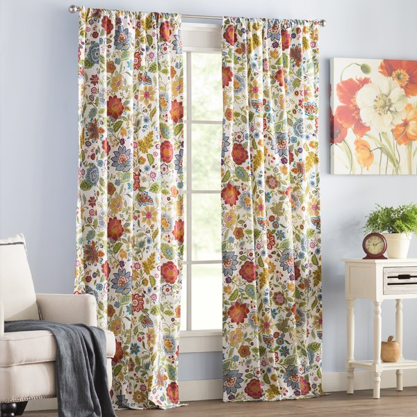 Alcott Hill - Heartwood Floral Sheer Rod Pocket Curtain Panels