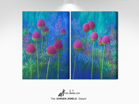 ArtFromDenise - Abstract Floral Painting in Jewel Tones - Diptych