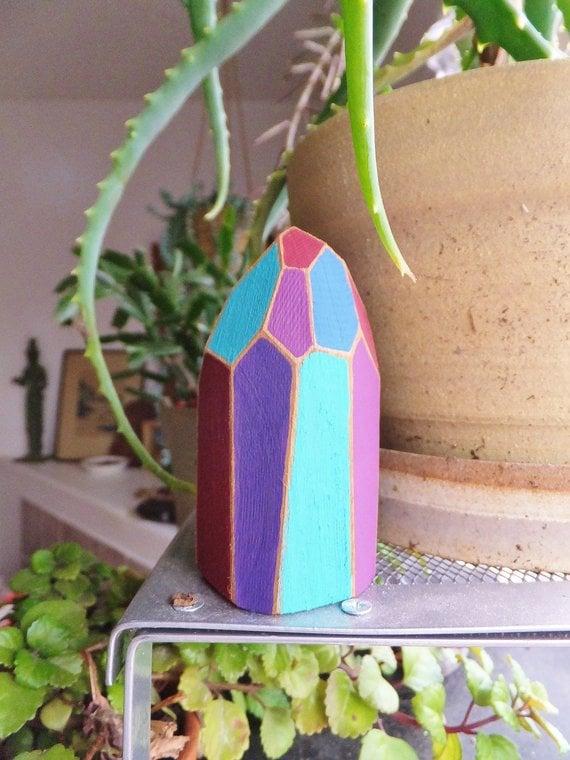 BlendedSplendid - Wooden Jewel Tone Crystal Sculpture