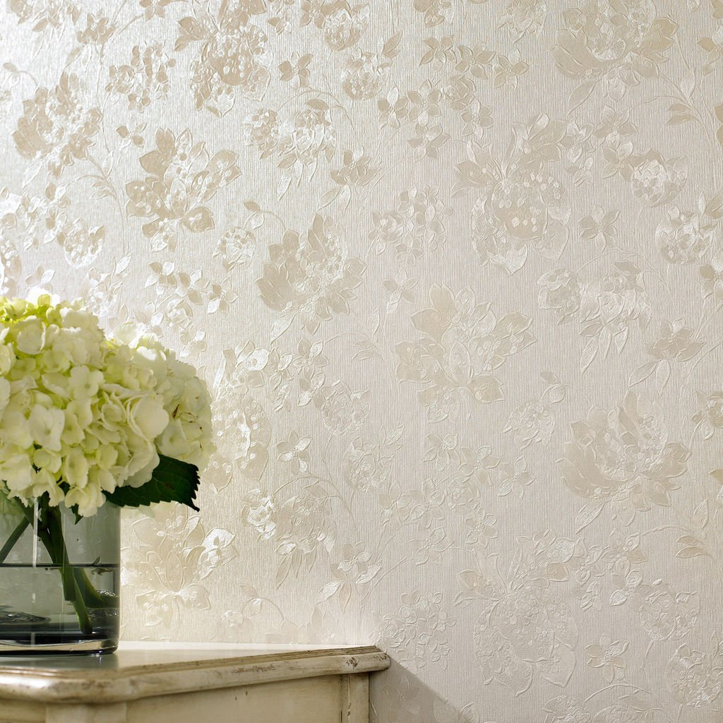 Graham and Brown - Floral Silk Cream Shimmer Wallpaper