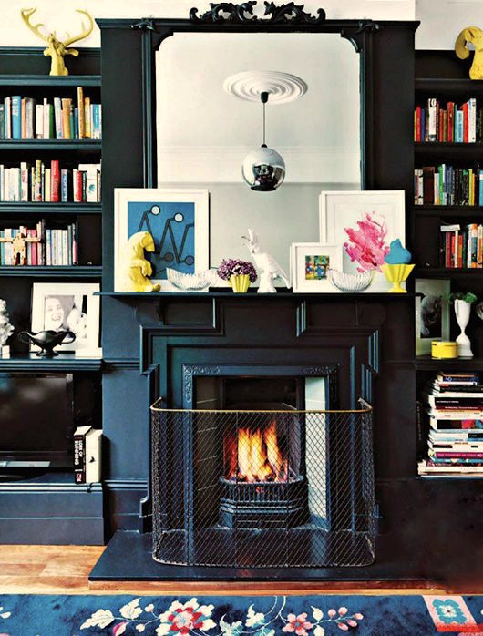Katie Ridder - Black Fireplace Mantel and Built-ins