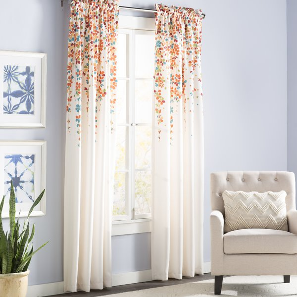 Latitude Run - Cumberland Floral Room Darkening Thermal Rod Pocket Curtain Panels