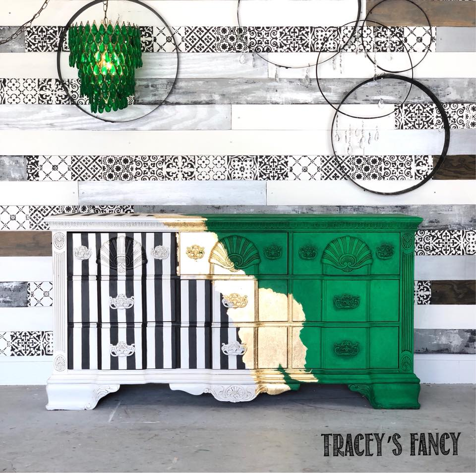 Tracey's Fancy - Green , Gold, and Black and White Stripes Dresser