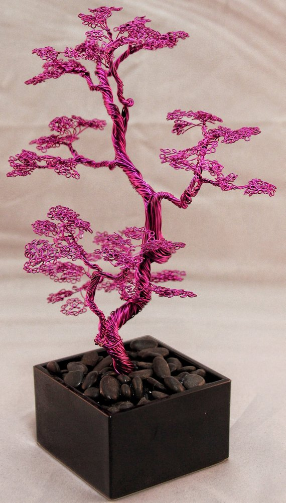 WireTreesAustralia - Magenta Wire Bonsai Wire Tree Sculpture