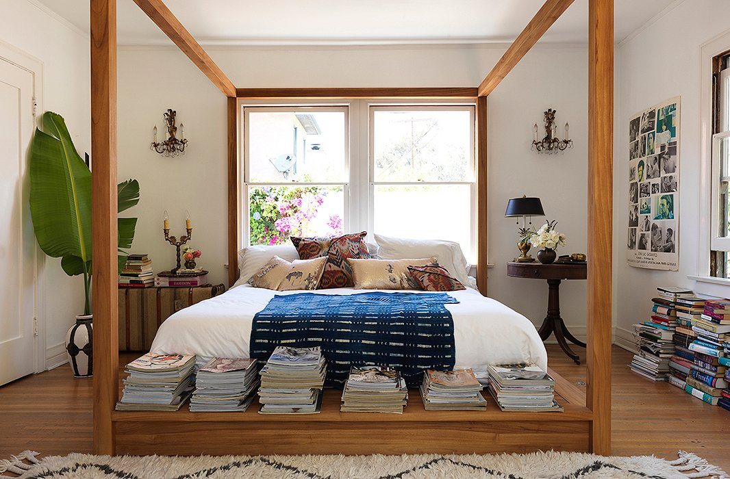 One King's Lane - Heidi Merrick - Natural Wood Low Four-Poster Bed
