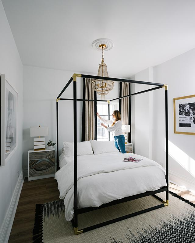 The Nest - Shelby Girard - Four-Poster Black and Gold Bed