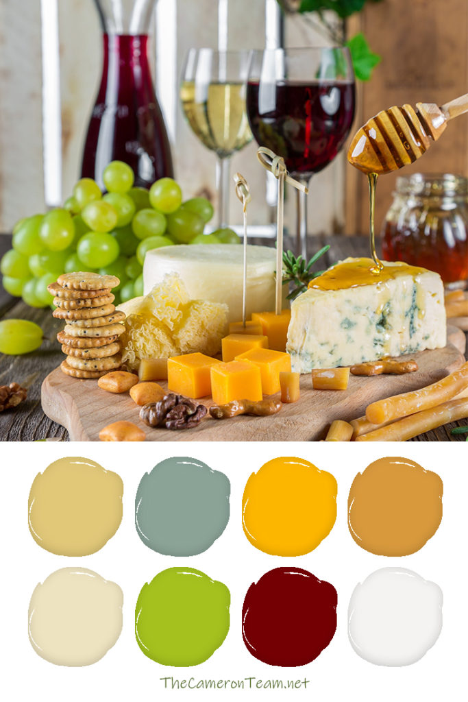 Cheese and Fruit Board with Wine Paint Color Palette - The Cameron Team