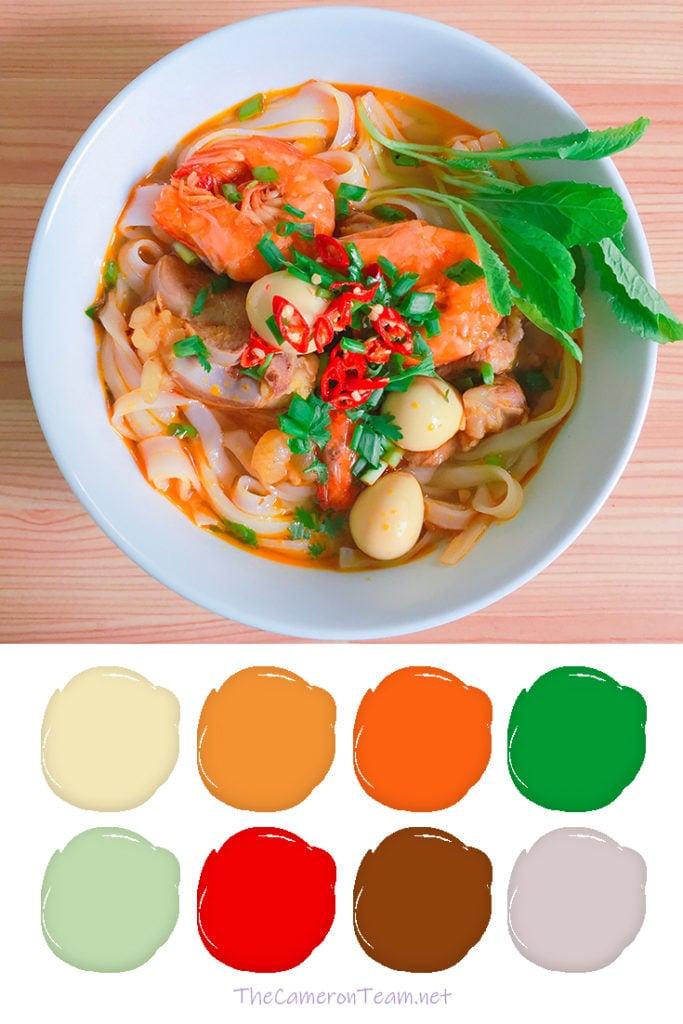 Shrimp and Noodles Paint Color Palette - The Cameron Team