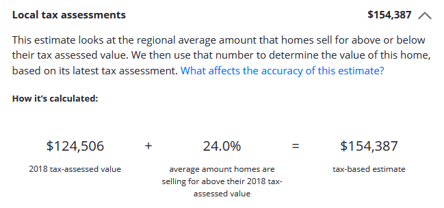 Example Local Tax Assessment on Zillow