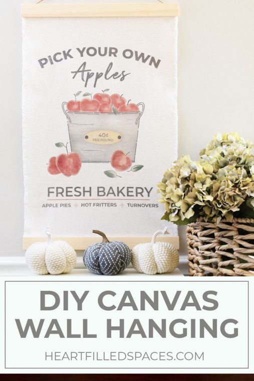 DIY Fall Apples Drop Cloth Wall Hanging - Heart Filled Spaces