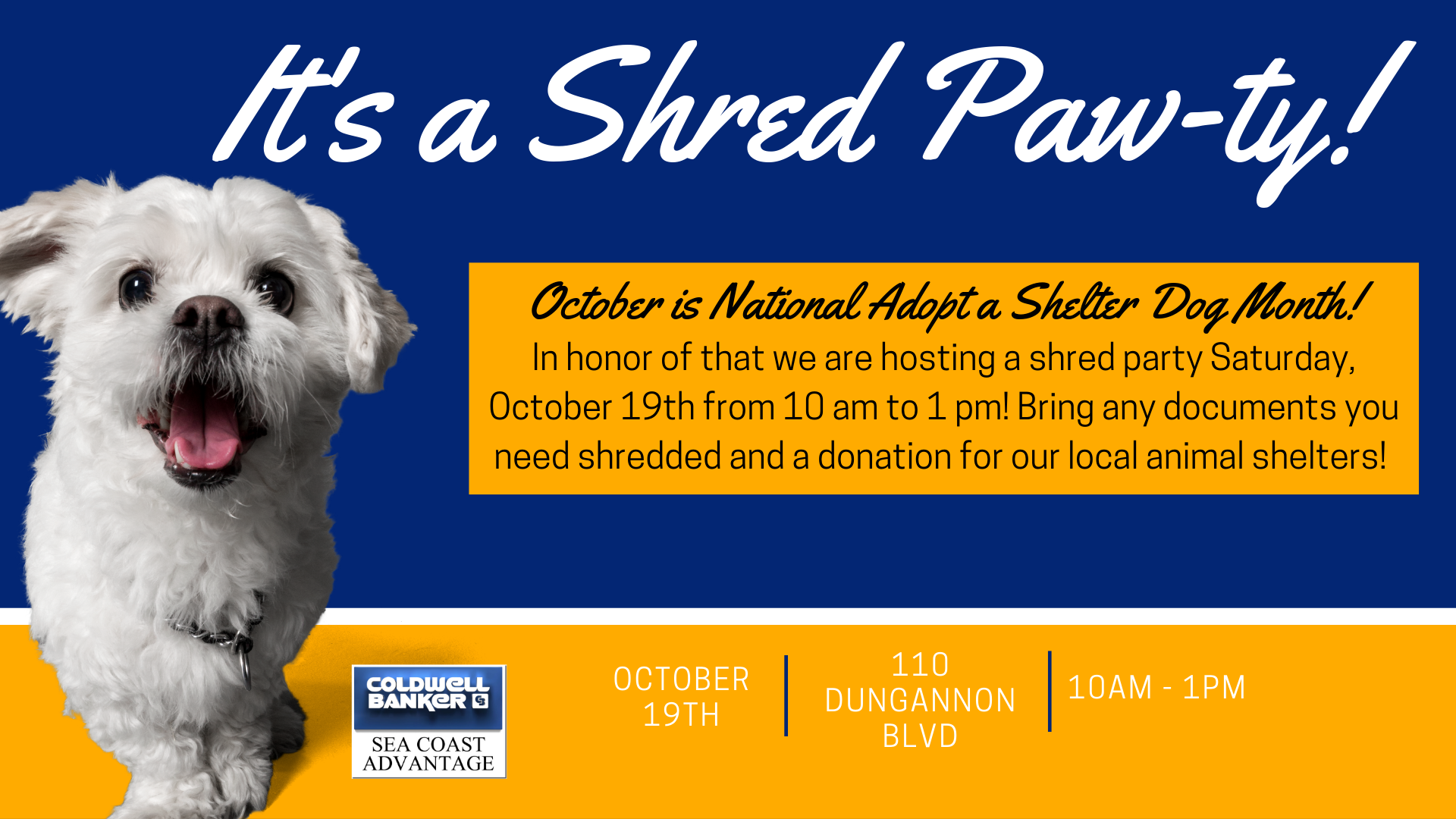 Shred Pawty - Shred Party and Local Animal Shelter Drive - Wilmington NC