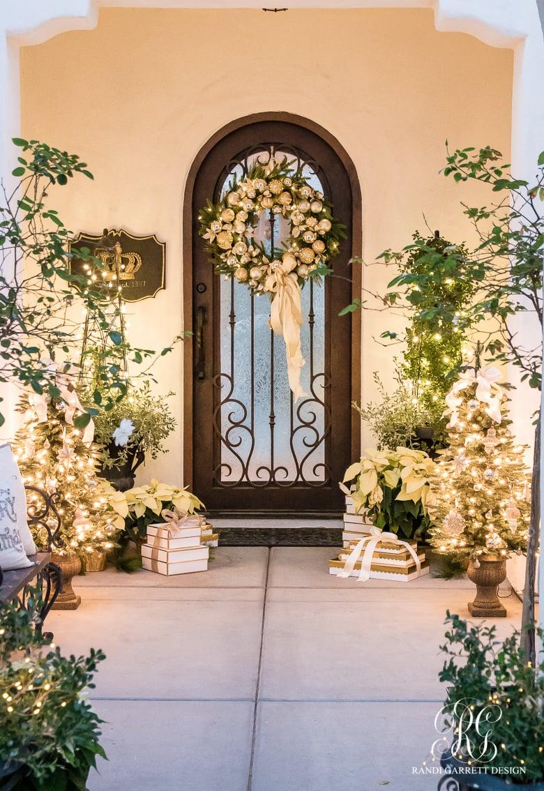 White and Gold Christmas Front Porch - Randi Garret Design
