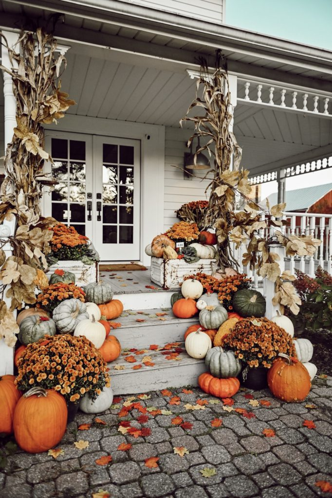 Colorful Farmhouse Fall Porch Steps - Liz Marie Blog