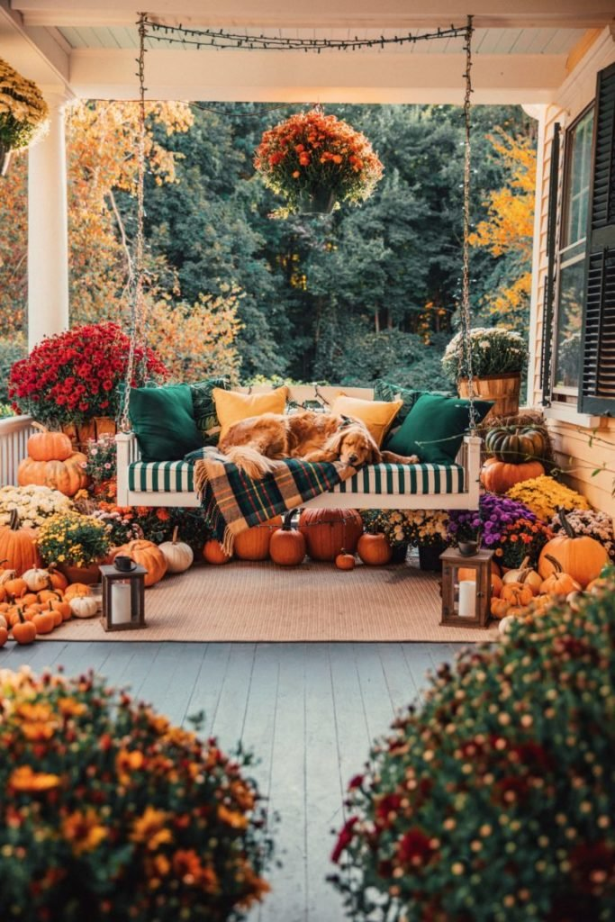 Fall Porch with Dog on Swing - Classy Girls Wear Pearls