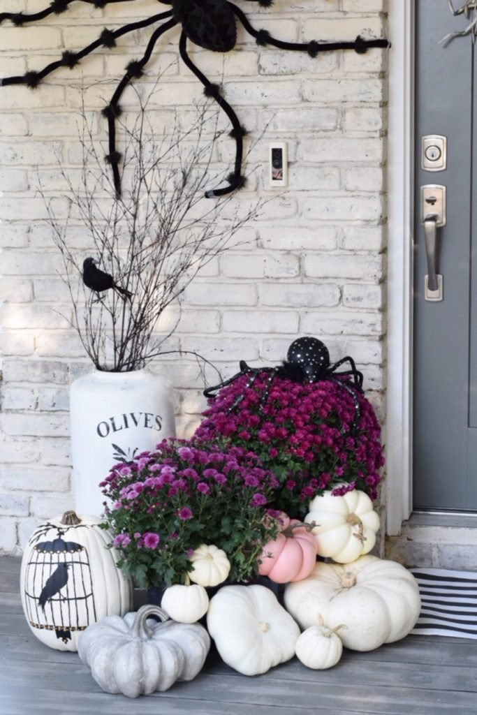 Pink and Purple Halloween Front Porch - Crazy Chic Design