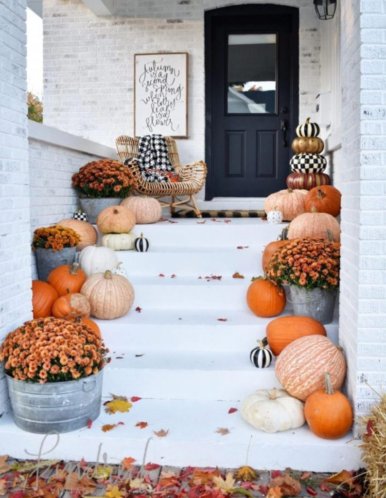 Small Front Porch Decorated for Fall - Kindred Vintage