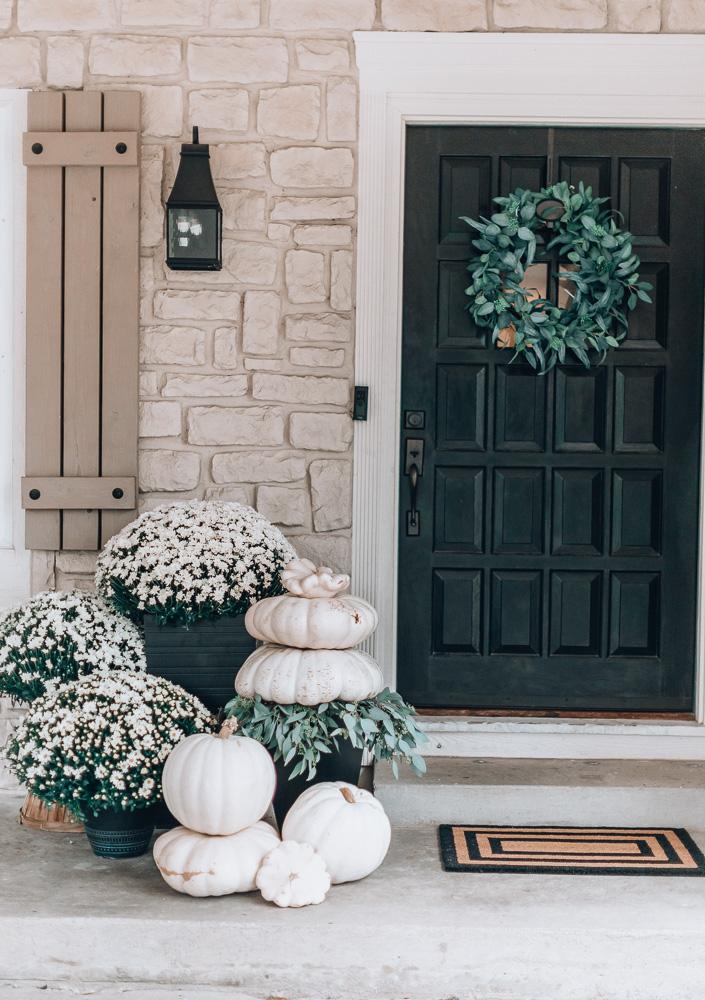 White and Green Fall Porch - Cella Jane