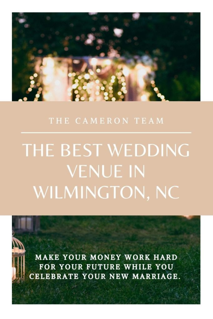 The Best WEdding Venue in Wilmington NC over lights and chairs in back yard