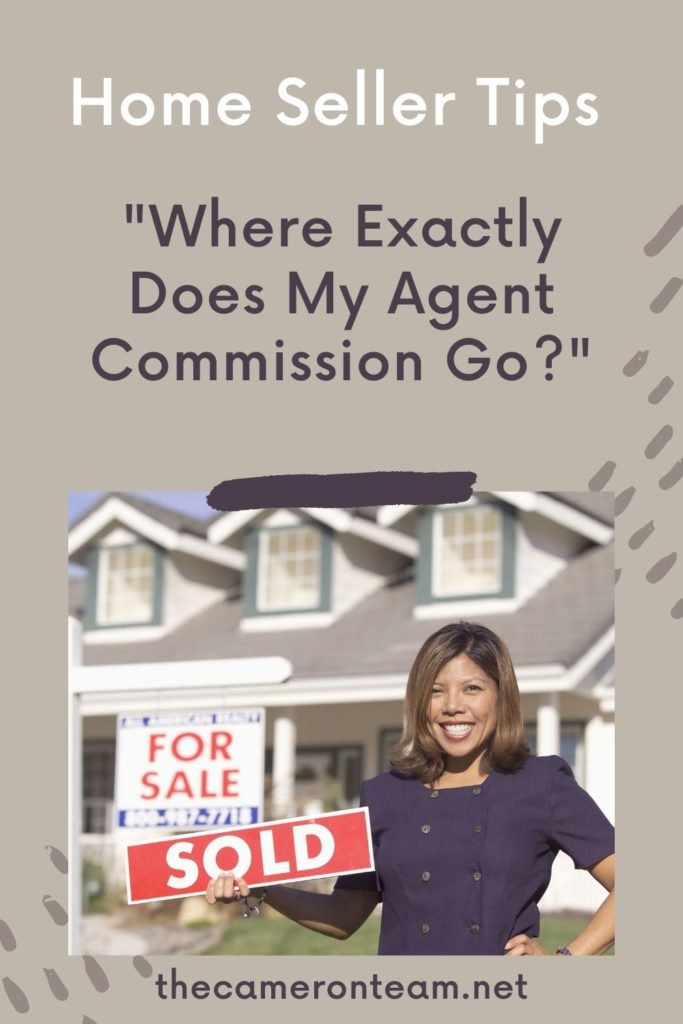 """Real estate agent standing with sold sign in front of home and words """"Where Exactly Does My Agent Commission Go?"""""""