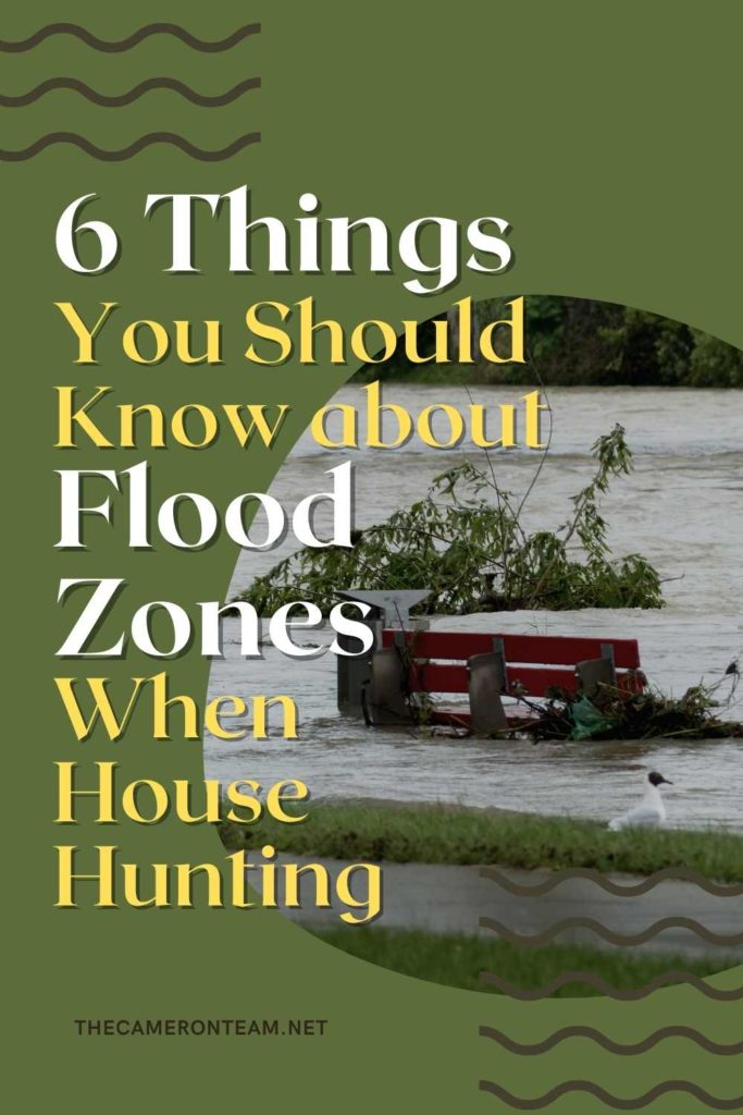 """""""6 Things You Should Know about Flood Zones When House Hunting"""" and a flooded park bench"""