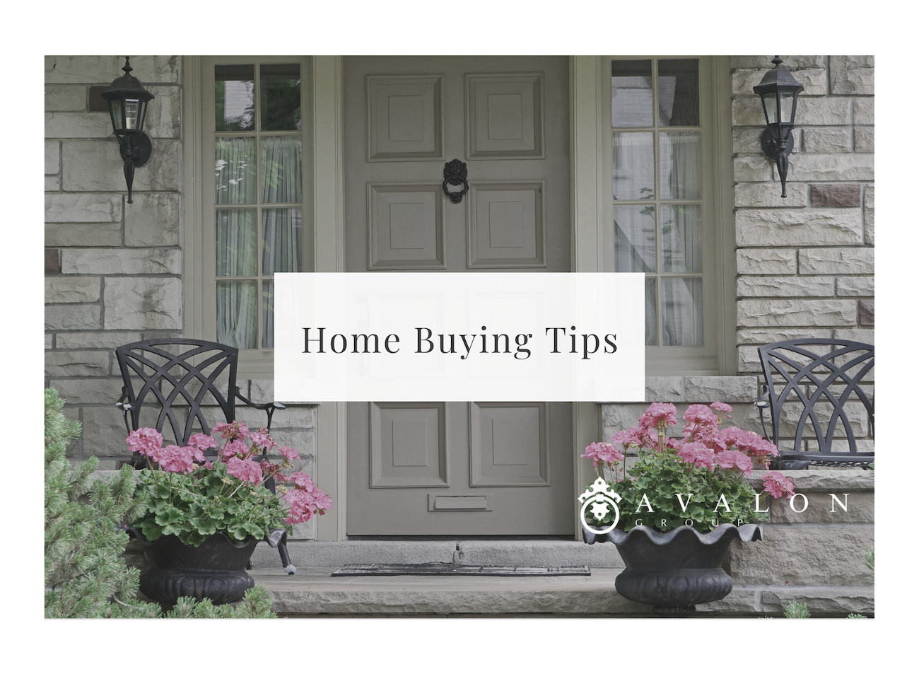 "Also this is a cover pic with a white box. And in the box it states ""Home Buying Tips"". next, the background is a stone home with a beige front door."