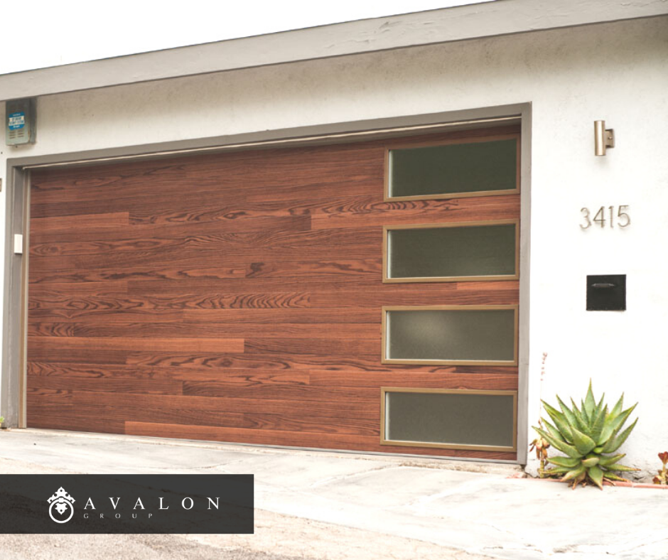 Another option is to add a new garage door like this one in the pic. Additionally the door is a brown stained wood with horizontal windows on the right side. AND THE STYKE OF THE DOOR IS MID CENTURY MODERN. THE HOME SIDING IS WHITE STUCCO.