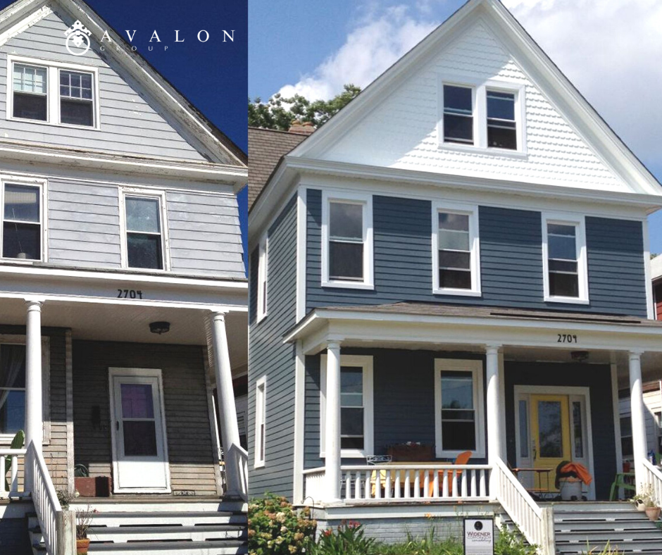 In addition,Before and After of a home that had it's siding replaced. And the new siding is gray with white trim.