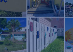 This is a collage of pictures taken in Madeira Beach Florida. There is a white picket fence with flip flops attached, a picture with the pirate boat, and different homes in the area with curb appeal.