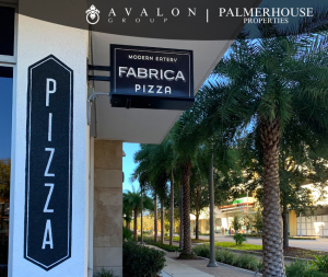 Palm Trees lined streets at entrance of Fabrica Pizza
