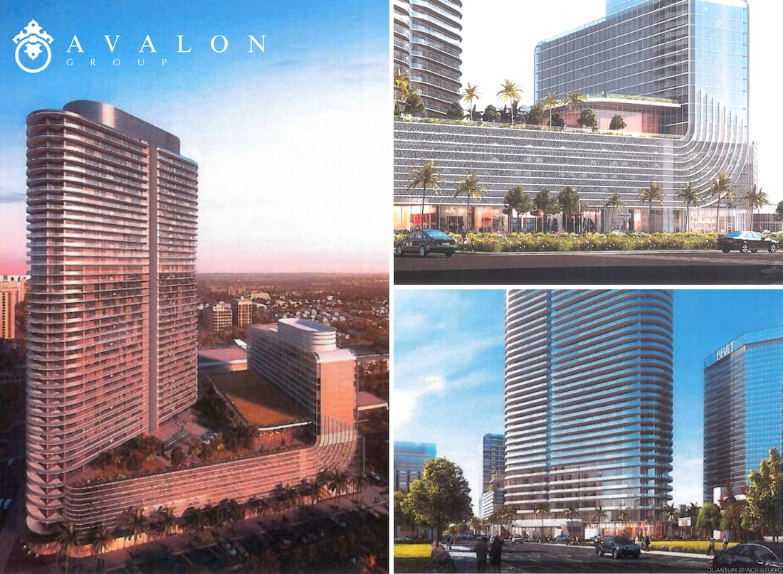 Furthermore, the left picture shows the tower sitting at an angle to Central Ave. also the upper right picture shows glass lined office space and street businesses. Furthermore, the lower right picture shows the base of the tower where it meets green space.