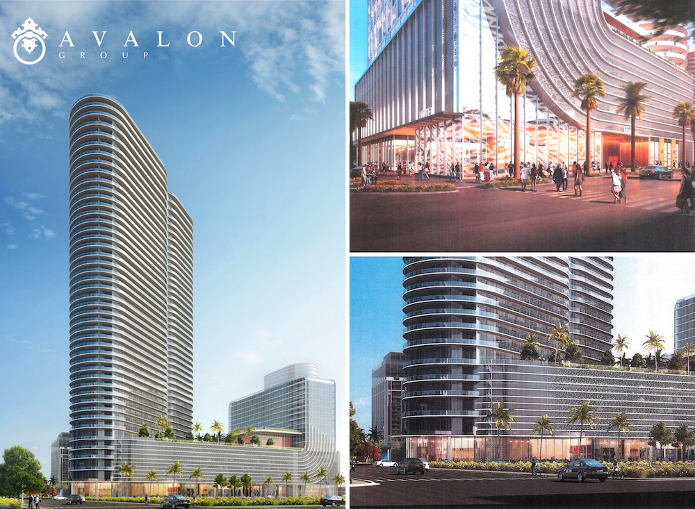 Also there are 3 pictures of the new 400 Central 46 floor tower. Additionally, the left picture shows a metal gray building next to a blue sky with white clouds. And the top right picture shows palm trees next to street businesses. Additionally, the lower right picture shows the glass enclosed entrance.