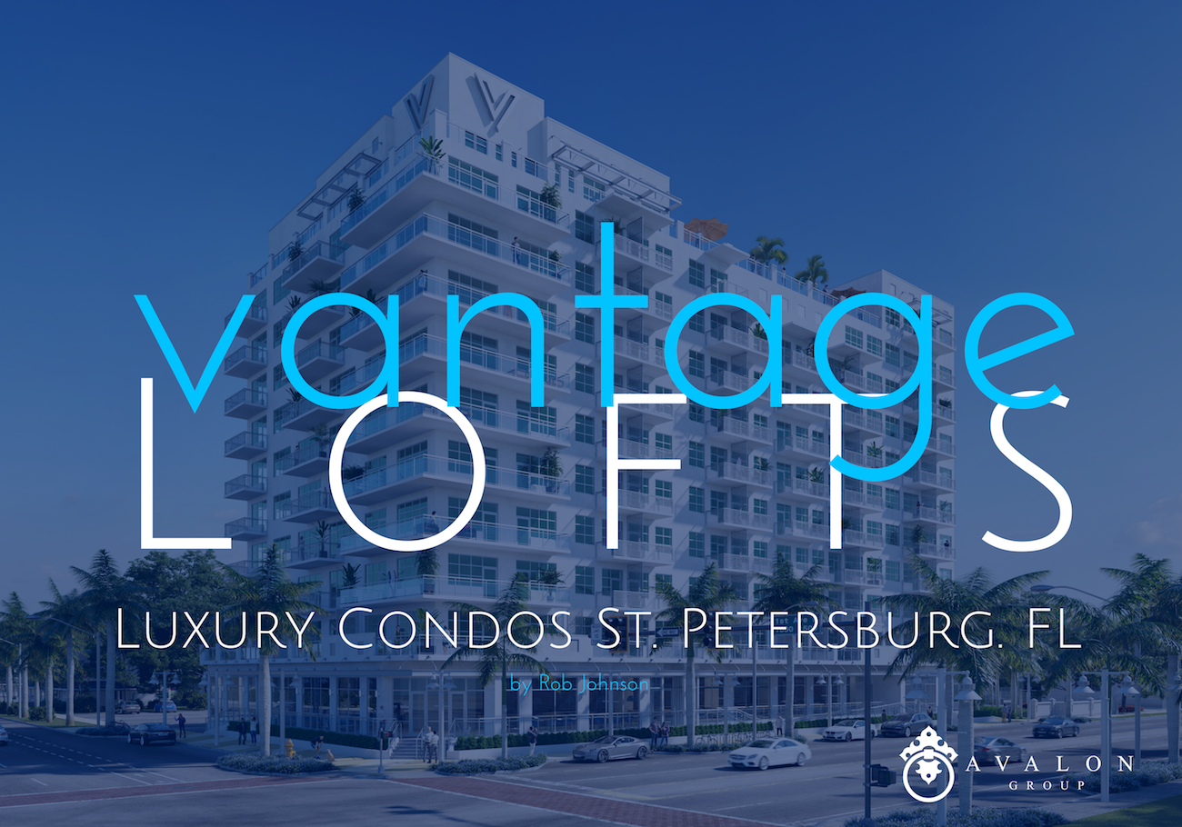 Vantage Lofts Luxury Apartments St Petersburg FL architectural rendering of completed front of building.