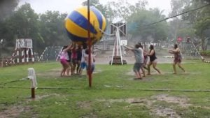 A group of adultsPlaying Volleyball with a HUGE ball. The ball is blue and yellow. They are playing on a green grass field.