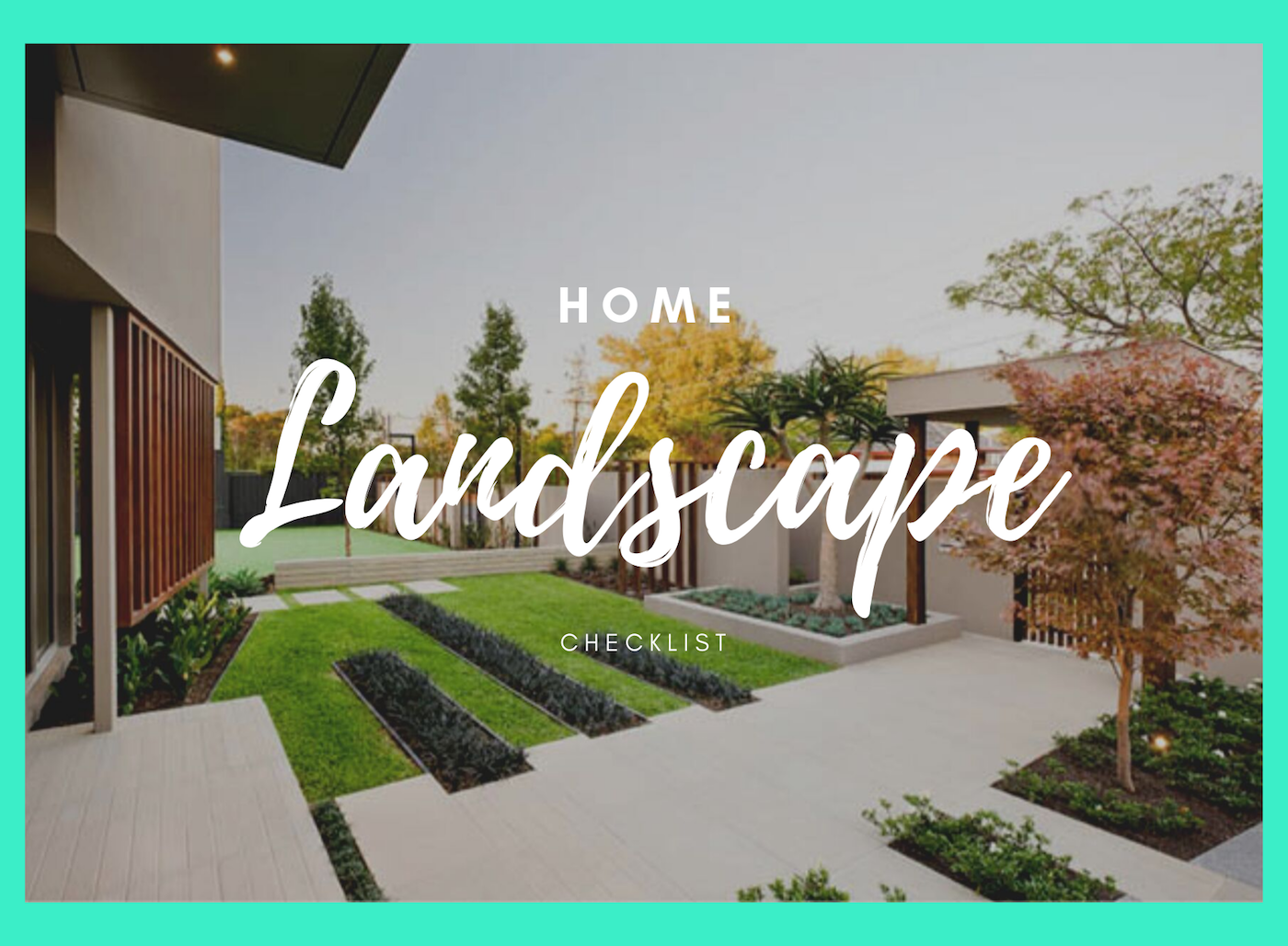 And the yard features green grass  with cement sidewalk and cement curbed mondo grass beds.  Also the brown modern fence encloses the yard.