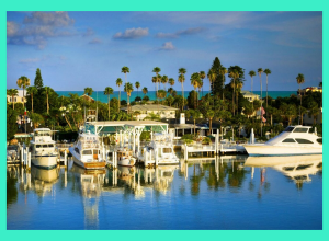 Waterfront Homes in Florida. There are boat docks in the forefront with yachts parked.