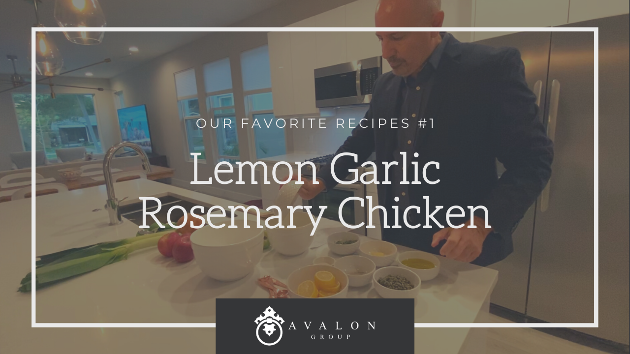 Lemon Garlic Rosemary Chicken Recipe Title Page for our Favorite Dinner Recipes. Background picture of Rob preparing this dish in his kitchen with white cabinets, white countertop, and white bowls.