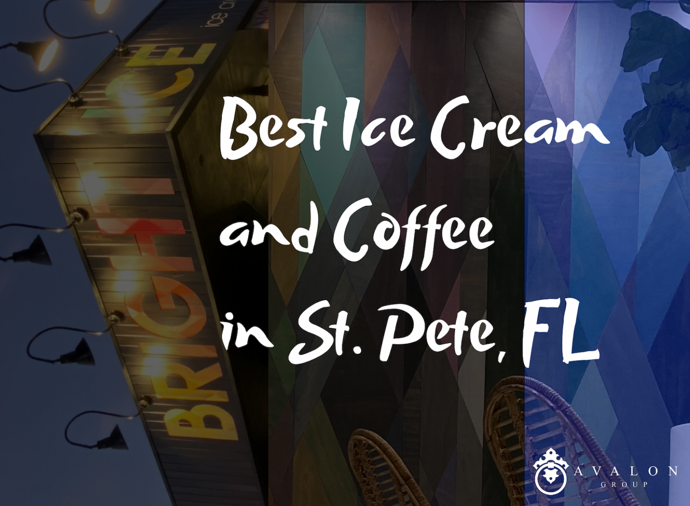"""Title Photo that writes """"Best Ice Cream and Coffee in St. Pete, FL. There is a """"Bright Ice"""" Sign vertically displayed on the left side of the picture, and the background is the wood art wall that is multi-colored."""