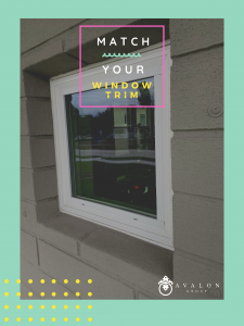 "Text on picture says ""Match your window trim"". There is a square window with white trim set within a brick gray wall. The border of the picture is sea foam green."