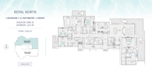 Penthouse Royal North Floor Plan SaltAire. The floorplan is black and white with an aqua border