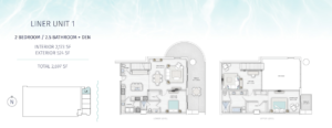 SaltAire Liner Unit 1 Floor Plan The floorplan is black and white with an aqua border
