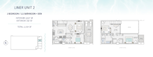 SaltAire Liner Unit 2 Floor Plan The floorplan is black and white with an aqua border