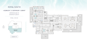 Royal South Penthouse Plan SaltAire. The floorplan is black and white with an aqua border