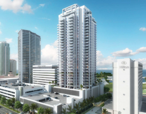 Rendering of Saltaire St Petersburg FL Luxury Condos. The picture shows the 35 story tower and rear parking garage.