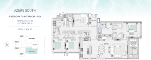 Saltaire Azure South Floor Plan The floorplan is black and white with an aqua border